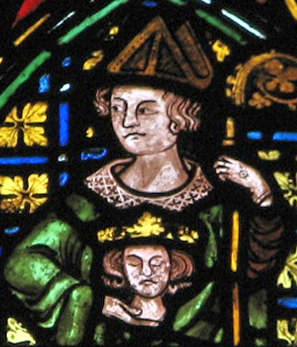 stained glass window of Saint Cuthbert of Lindisfarne, Christ Church cathedral, c.1320; artist unknown; depicts the saint in pontificals, holding the head of Saint Oswald; photographed by Brother Lawrence Lew, OP; swiped from his flickr.com site, and used with permission