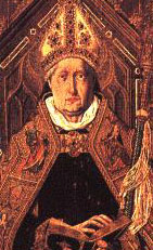 detail from 'Saint Dominic of Silos enthroned as Abbot', by Bartolomé Bermejo, worked 1474 to 1495; currently in the Museo del Prado, Madrid, Spain
