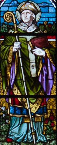 detail of a stained glass window of Saint Edmund Rich, date unknown, artist unknown; east wall, east transept, Saint Mary's Church, Clonmel, County Tipperary, Ireland; photographed on 6 September 2012 by Andreas F. Borchert; swiped from Wikimedia Commons