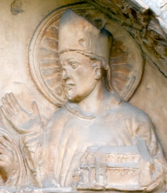 bas-relief of Saint Epiphanius; date unknown, artist unknown; detail of a tympanum at the main, north-west door of the Basilica of Saint Godehard, Hildesheim, Germany; photographed on 3 October 2011 by Hildesia; swiped from Wikimedia Commons