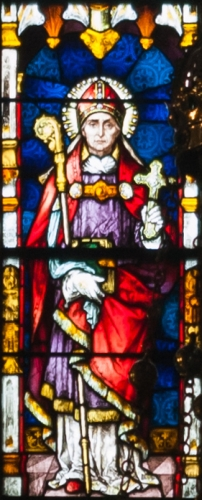 detail of a stained glass window depicting Saint Eugene, created c.1900 by Meyer and Co; Cathedral of Saint Eugene, Derry, Northern Ireland; photographed on 17 September 2013 by Andreas F Borchert; swiped from Wikimedia Commons; click for source image