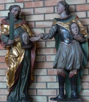statues of Saint Felix of Zurich and Saint Regula of Zurich; date unknown, artist unknown; Catholic parish church of Saint Felix and Regula, Zogenweiler, Horgenzell, Ravensburg, Germany; photographed in August 2008 by Andreas Praefcke; swiped from Wikimedia Commons