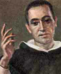 detail of an Italian holy card of Blessed Francisco Coll Guitart