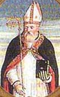 detail of a Saint Gallo of Aosta holy card, date and artist unknown; swiped from Santi e Beati