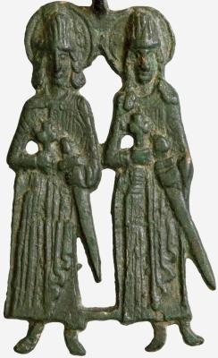 12th century effigy of Saint Gleb and Saint Boris, artist unknown; swiped from Wikimedia Commons