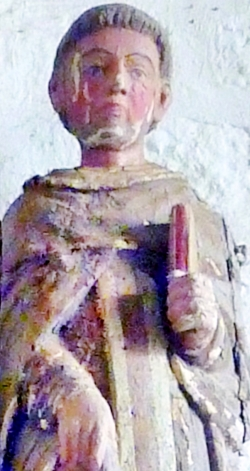 detail of a statue of Saint Urlo; date unknown, artist unknown; chapelle Saint-Tugdual, Landudal, France; photographed on 21 September 2014 by Moreau.henri; swiped from Wikimedia Commons; click for source image