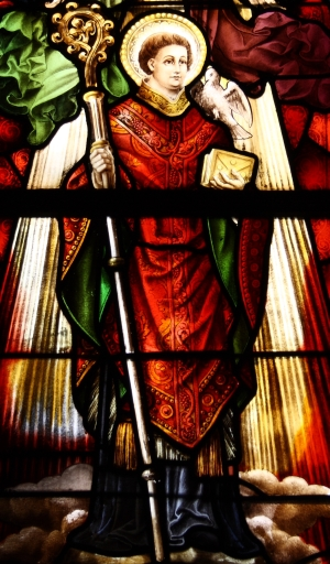 stained glass window Saint Hadelinus; date unknown, artist unknown; parish church of Saint Martin, Visé, Liège, Belgium; photographed on 10 October 2012 by Reinhardhauke; swiped from Wikimedia Commons; click for image source