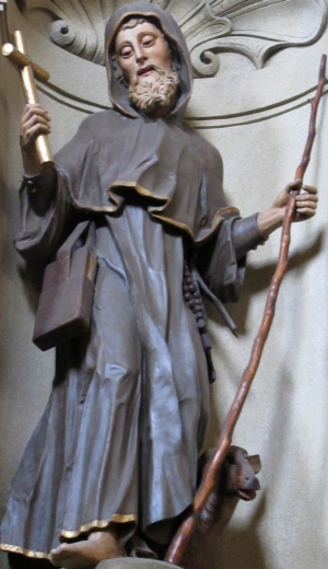 statue of Saint Ivan the Hermit; date and artist unknown; church of Saint John of Nepomuk, Hus, Kutna Hora, Czech Republic; photographed on 22 June 2014 Hadonos; swiped from Wikimedia Commons; click for source image