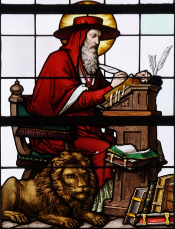 detail of a stained glass window of Saint Jerome; 19th century by F X Zettler, Munich, Germany; parish church of Saint Alban, Gutenzell-Hürbel, Biberach, Germany; photographed in January 2015 by Andreas Praefcke; swiped from Wikimedia Commons; click for source image