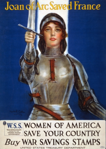 detail of the World War I War Stamps lithograph featuring Joan of Arc; by Haskell Coffin, 1918; restored by the Library of Congress; swiped from Wikimedia Commons