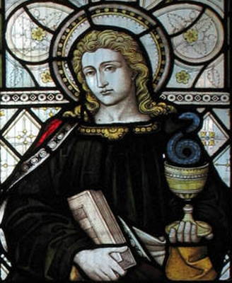 detail of a stained glass window of Saint John the Apostle; date and artist unknown; church of Saint George, Castle Way, Hanworth, England; photographed on 10 December 2004 by John Salmon; swipe from Wikimedia Commons