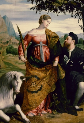 the painting 'Santa Giustina with the unicorn and a devotee' by Il Moretto, c.1532, Kunsthistorisches Museum, Vienna, Austria