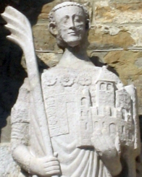 statue of Saint Justus of Trieste, Campanile, Cathedral of Trieste; sculptor unknown; photo taken in October 2006 by Trieste; swiped off Wikipedia