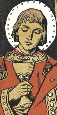 detail from a commemorative event card showing Saint Kilian, Saint Totnan and Saint Kolonat; by Matthäus Schiestl, 1907; swiped from Wikimedia Commons