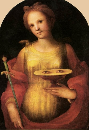 detail of a painting of Saint Lucy; oil on panel, 1521, by Domenico di Pace Beccafumi; Pinacoteca Nazionale di Siena, Italy; swiped from Wikimedia Commons