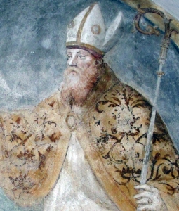 detail of a painting of Saint Magnus of Milan; 16th century, artist unknown; crypt of Saint Eustorgius, Milan, Italy; photographed on 29 October 2011 by A ntv; swiped from Wikimedia Commons