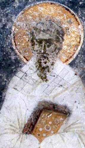 detail of a 14th century fresco of Mina, Patriarch of Constantinople; artist unknown; northern wall of the nave of the northern wing of the Gracanica Monastery, Kosovo, Serbia; swiped from Wikimedia Commons