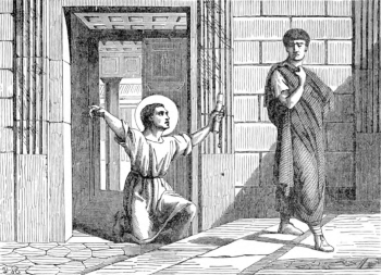 illustration of Saint Onesimus returning to Philemon, the letter from Saint Paul the Apostle in his hand; taken from 'Pictorial Lives of the Saints', 1892, artist unknown