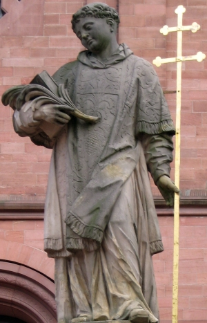 detail of a statue of Saint Marcellinus; date and artist unknown; photographed on 5 September 2007 by Agridecumantes; swiped from Wikimedia Commons; click for source image