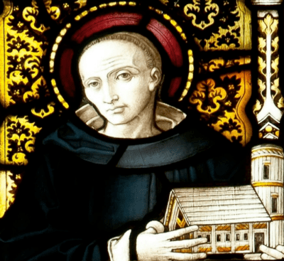 stained glass window of Saint Piran in Truro Cathedral, c.1907, artist unknown