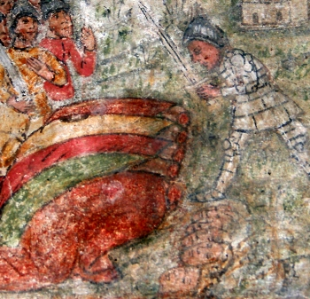 detail of a 13th century frescoe depicting the martyrdom of Saint Restituta of Corsica and others; exact date and artist uknown; chapel of Saint Resituta, Calenzana, Corsica, France; photographed on 14 May 2008 by Jean-Pol Grandmont; swiped from Wikimedia Commons
