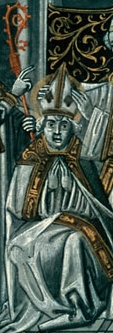 detail of an illustration depicting the consecration as bishop of Saint Rigobert of Rheims; Flemish miniature in a French language version of the Golden Legend, c.1470, artist unknown; click for source image