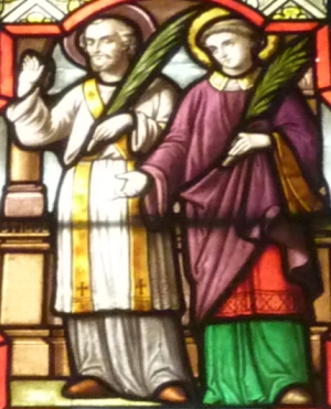 detail of a stained glass window depicting Saint Rusticus and Saint Eleuthere, date unknown, artist unknown, Saint-Leu-Saint-Gilles Church, Paris, France; photographed on 3 June 2010 by Reinhardhauke; swiped from Wikimedia Commons