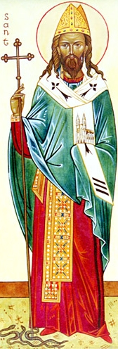 detail of an icon of Saint Samson of York; swiped from Wikimedia Commons; click for source image