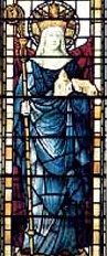 detail of a stained glass window of Saint Saxburgh of Ely, date and artist unknown; swiped from Santi e Beati