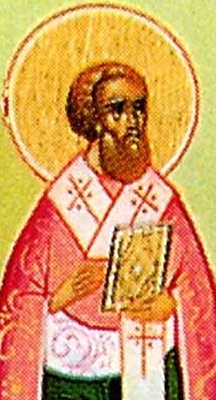 detail of an illustration of Saint Tryphillius of Leucosia, date and artist unknown; swiped from Santi e Beati