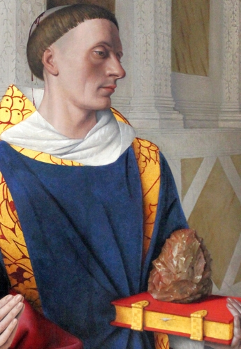 detail of the oil on oak painting 'Etienne Chevalier with Saint Stephen'; by Jean Fouquet, c.1454; Royal Museum of Fine Arts. Antwerp, Belgium; photographed on 18 April 2014 by Miguel Hermoso Cuesta; swiped from Wikimedia Commons