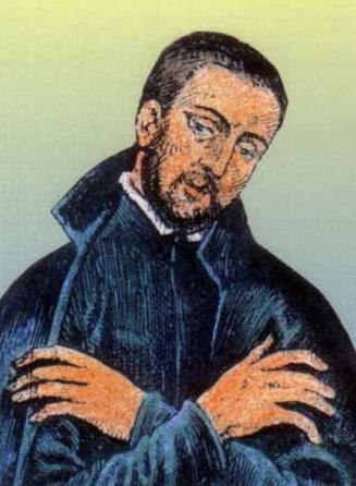 detail of a holy card of Saint Thomas Garnet, date and aritst unknown; swiped from Santi e Beati; click for source image