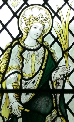 detail of a stained glass window of Saint Winifred, Our Lady and Saint Non's Chapel, Saint David's, Wales; artist unknown; photographed on 21 July 2011 by Wolfgang Sauber; swiped off Wikipedia
