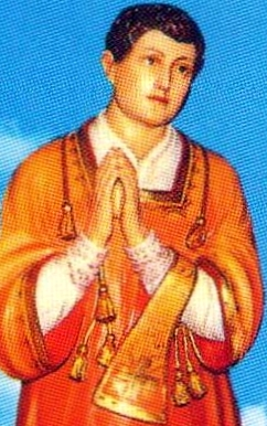 detail of an Italian holy card of Saint Equizio of Telese, artist, photographer and date unknown; swiped from Santi e Beati
