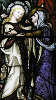 stained glass depiction of the Visitation of Mary to Elizabeth, artist unknown; used with permission of Father Lawrence Lew, OP
