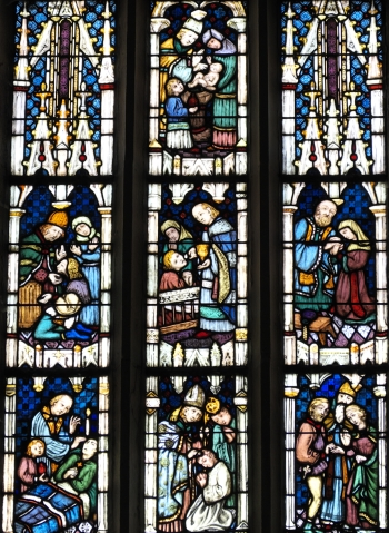 detail of a stained glass window depicting each of the seven sacraments; by Ott Frères Strasbourg, 1923; Saint-Thiébaut parish church, Thann, Haut-Rhin, France; photographed on 31 July 2015 by GFreihalter; swiped from Wikimedia Commons