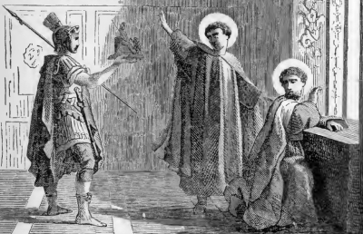 Pictorial Lives of the Saints illustration of Saints John and Paul, Martyrs, refusing to worship a statue