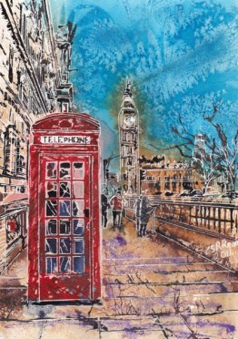 Calling Home! Red Telephone box painting