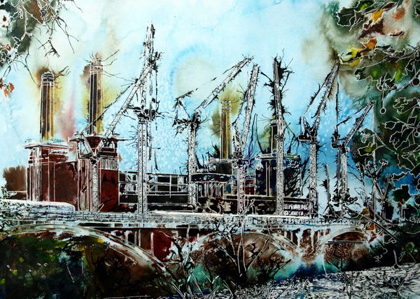 Iconic architecture ©2015 - Cathy Read - Battersea Reborn- Watercolour and Acrylic - 55 x 75 cm