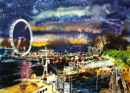 ©2014 - Cathy Read - Goodnight Thames - Watercolour and Acrylic - 54x74 cm £810 unframed