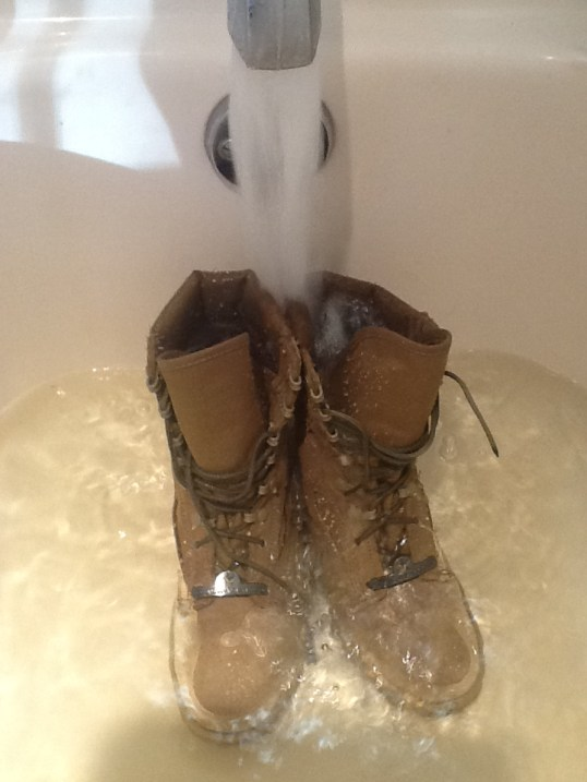 The apparently controversial wetting of the boots