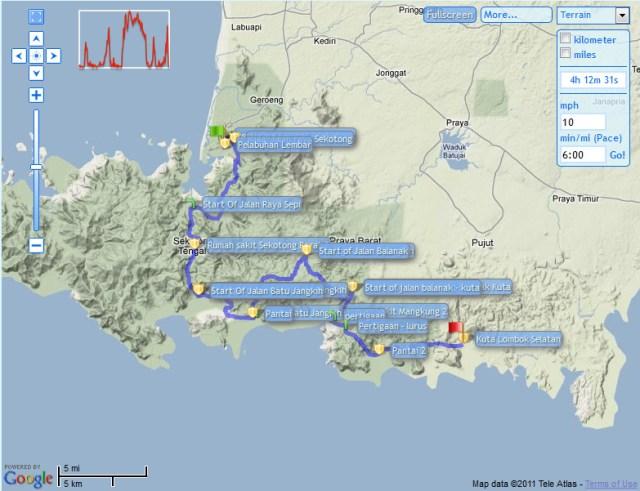 Jalur Lembar(Lombok) - Kuta(Lombok Selatan)