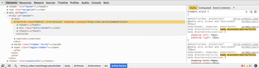 Chrome Dev Tools after customization