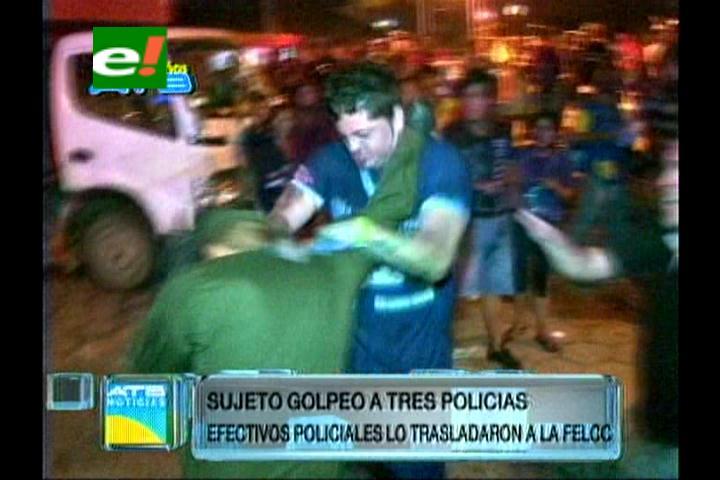 Comparsero golpea a tres policías al ser detenido por excesos en vía pública
