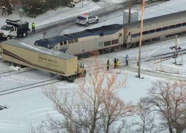 St Louis AmTrack Train Hits Truck