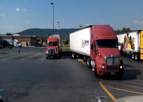 Video: Truck Stop Parking Gaffe