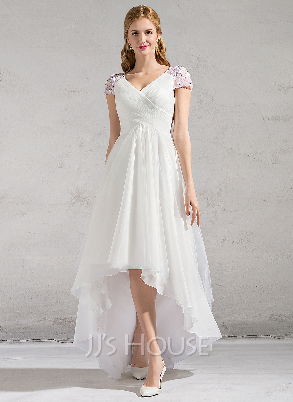 Cheap Wedding Dresses c2 wedding dress under $ A Line Princess V neck Asymmetrical Tulle Wedding Dress With Ruffle Beading Sequins