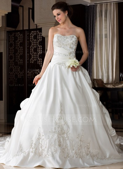 Ball-Gown Sweetheart Royal Train Satin Wedding Dress With ...
