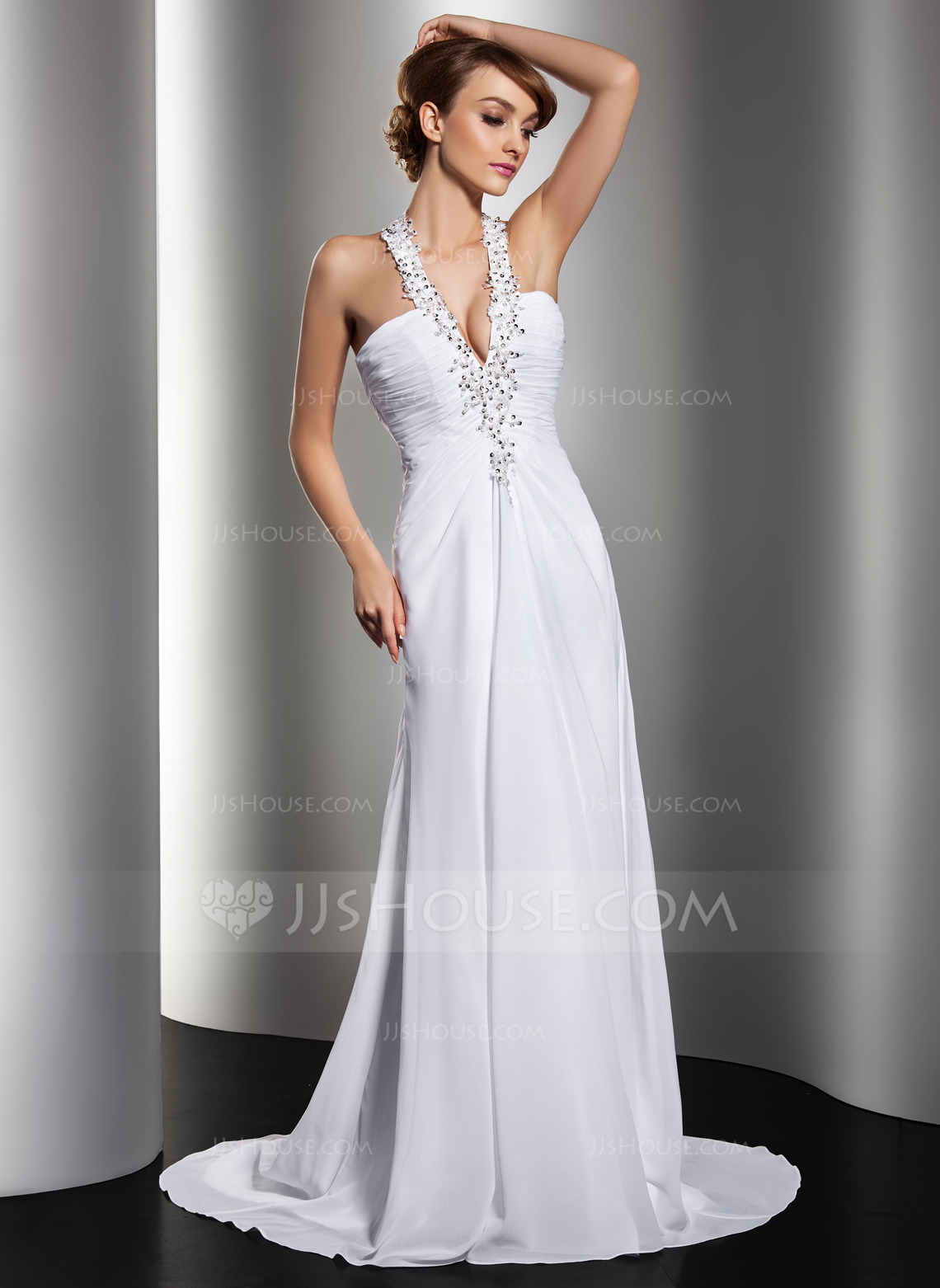 A Line Princess Halter Sweep Train Chiffon Wedding Dress With Ruffle Beading Appliques Lace Sequins g white halter wedding dress Home Wedding Dresses Loading zoom