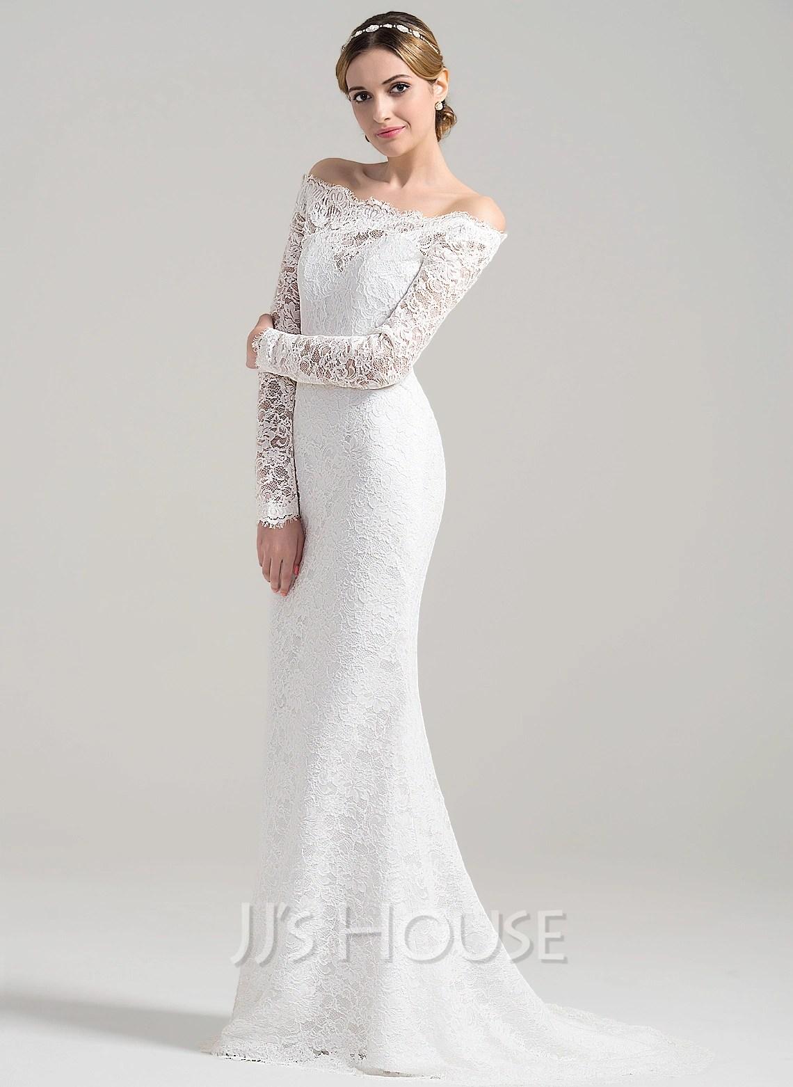 Beach p most popular wedding dresses Sheath Column Off the Shoulder Sweep Train Lace Wedding Dress